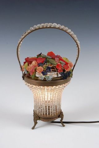 Vintage Czech Flower Not Fruit Basket Glass Bead Beaded Lamp Exquisite photo