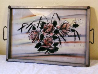 Vintage Painting In Reverse Art Nouveau Tray Bb1 photo
