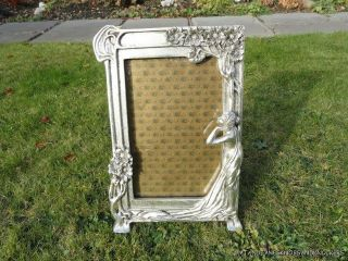 Large Art Nouveau Style Stylised Lady Photograph Frame Arts And Crafts photo