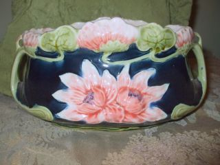 Antique Belgium Cobalt Art Nouveau Continental Majolica Jugendstil Bowl photo