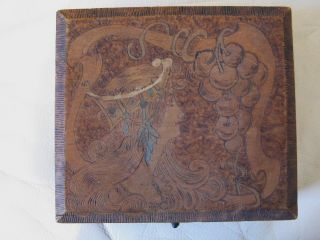 Antique Victorian Art Nouveau Mucha Woman Grapes Pyrography Flemish Art Wood Box photo