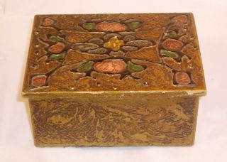 Wonderful Vintage Art Nouveau Arts And Crafts Wooden Box With Deco Q30 photo