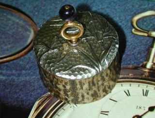 Pocket Watch Key Stand Fine Dragonfly And Reeds On Stags Antler Base. photo