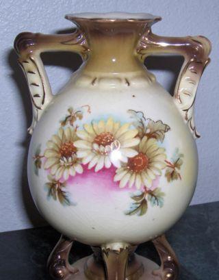 Antique 1920 Austria Amphora Turn Teplitz Vase Flower Floral Art Pottery Nouveau photo