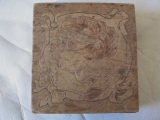 Antique Victorian Art Nouveau Gibson Girl Pyrography Flemish Art Wood Box 1919 photo