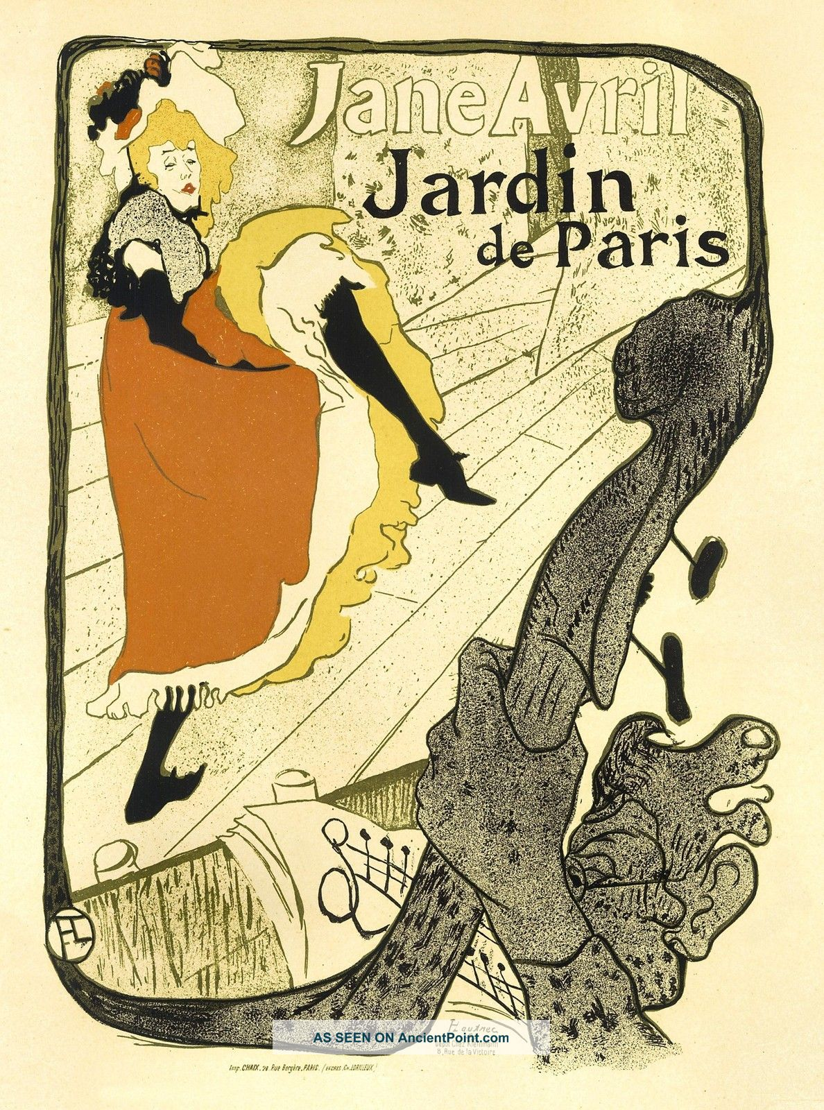 Art Nouveau Style Advertising Print ' Jardin De Paris ' Art Nouveau photo