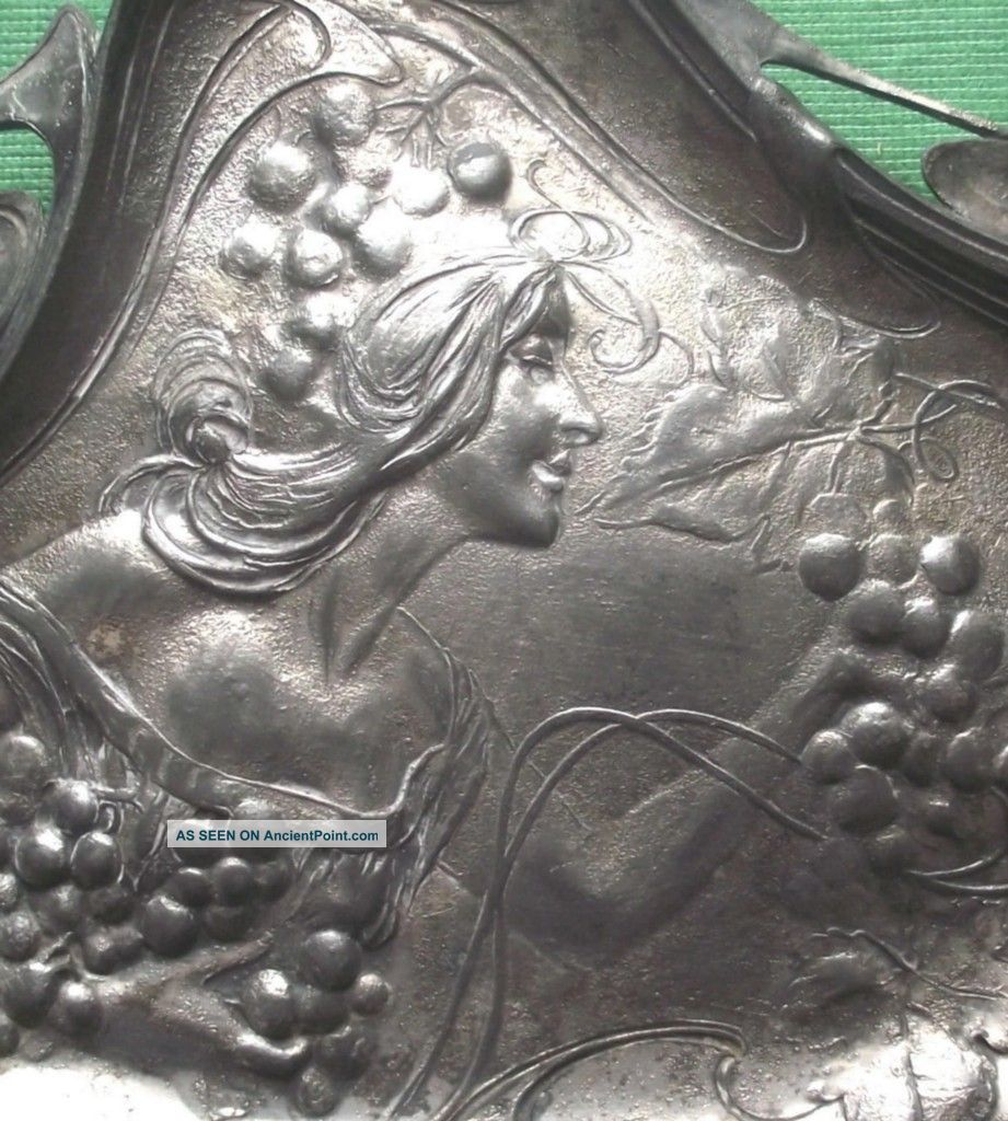 1900 Wmf? Art Nouveau Maiden Whiplash Pewter Card Tray Art Nouveau photo