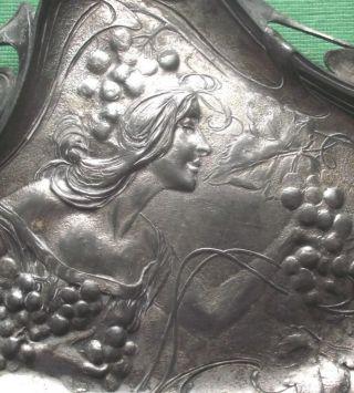 1900 Wmf? Art Nouveau Maiden Whiplash Pewter Card Tray photo