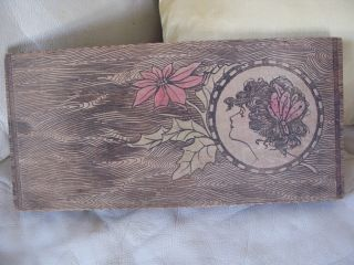 Antique Victorian Art Nouveau Gibson Girl Floral Pyrography Flemish Art Wood Box photo