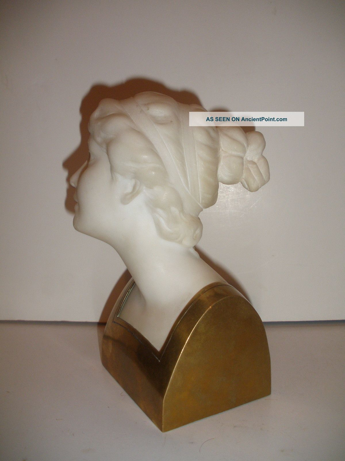 Antique Alabaster Marble Bronze Bust Of Young Lady Woman Sculpture By Schumacher Art Nouveau photo