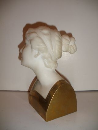 Antique Alabaster Marble Bronze Bust Of Young Lady Woman Sculpture By Schumacher photo