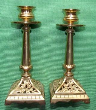 Pair Art Nouveau Pierced Design Brass Candlesticks 7.  25