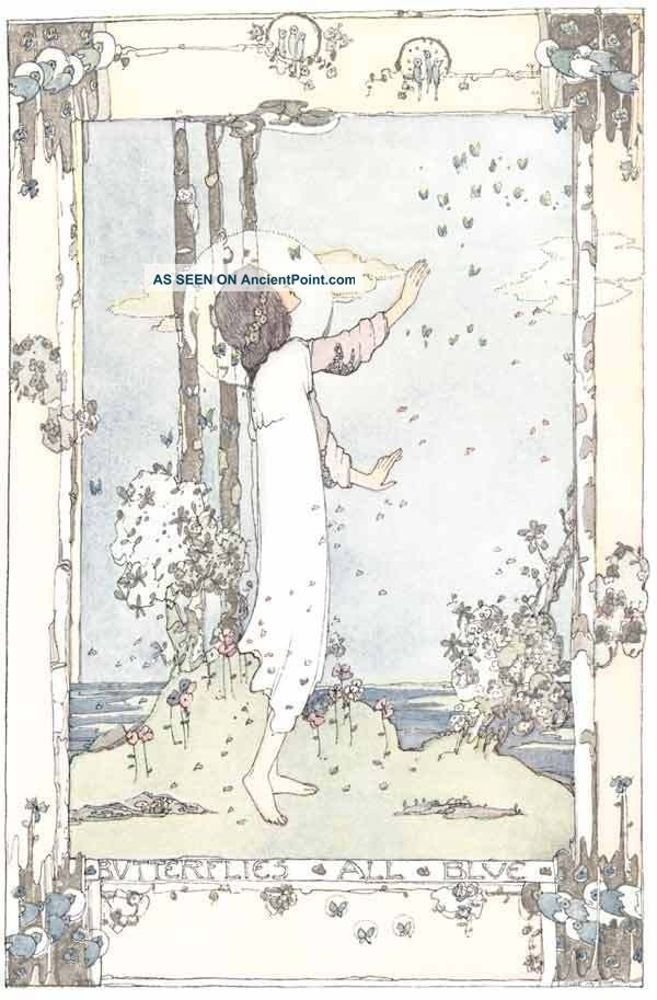 1914 Jessie King Art Nouveau Print Glasgow Butterflies New Printing Art Nouveau photo