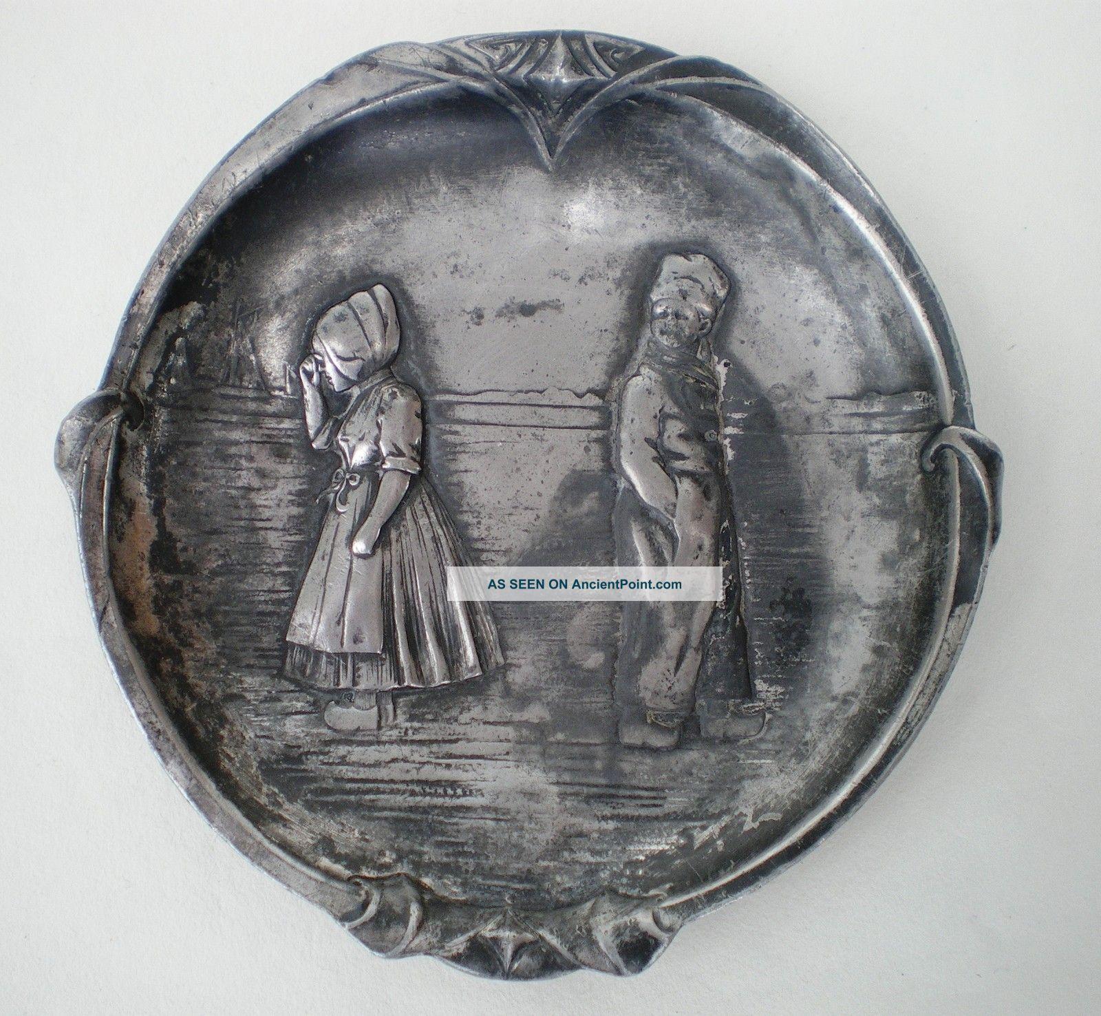 Wmf Art Nouveau Pewter Dish / Trinket Tray / Vide Poche Dutch Children C:1900 Art Nouveau photo