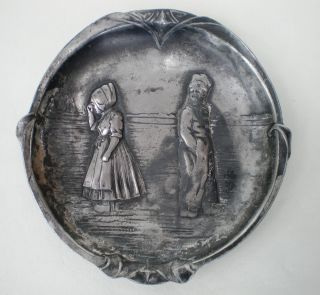 Wmf Art Nouveau Pewter Dish / Trinket Tray / Vide Poche Dutch Children C:1900 photo