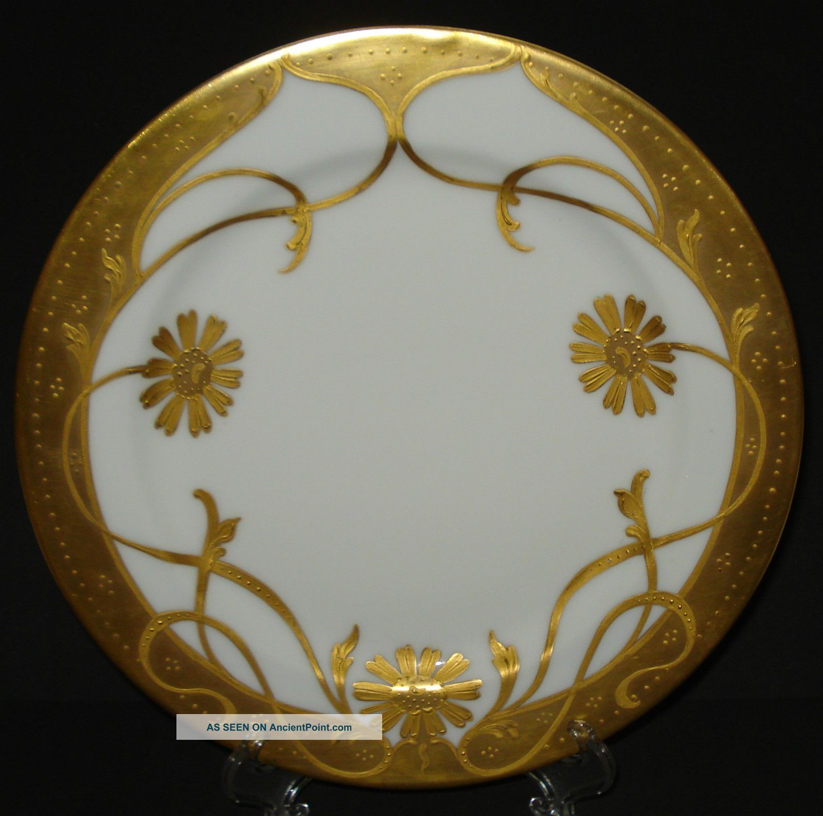 Antique Pickard China Plate Haviland Limoges Raised Gold Daisy Hand Painted 1903 Art Nouveau photo