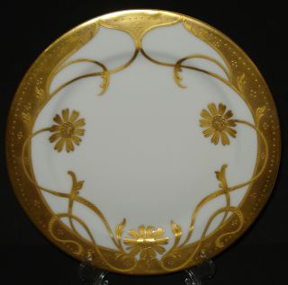 Antique Pickard China Plate Haviland Limoges Raised Gold Daisy Hand Painted 1903 photo