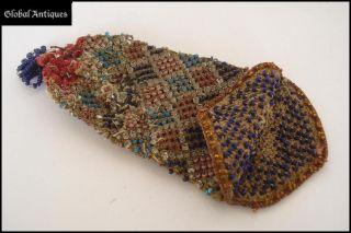 19c.  Vintage Art Nouveau Hand Embroidered Purse W/beads photo