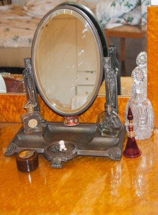 Antique Plewkiewicz Early Art Nouveau Silver Plated,  Mirror - Bevelled 120+ Y.  O. photo