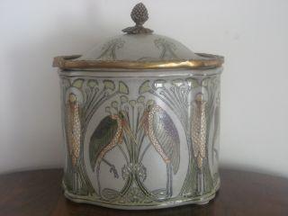 Art Nouveau Style Ceramic & Brass Casket photo