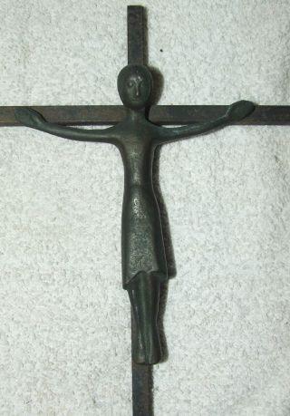 Antique Religious Art Nouveau Bronze Jesus Wall Crucifix,  Artist Signed photo