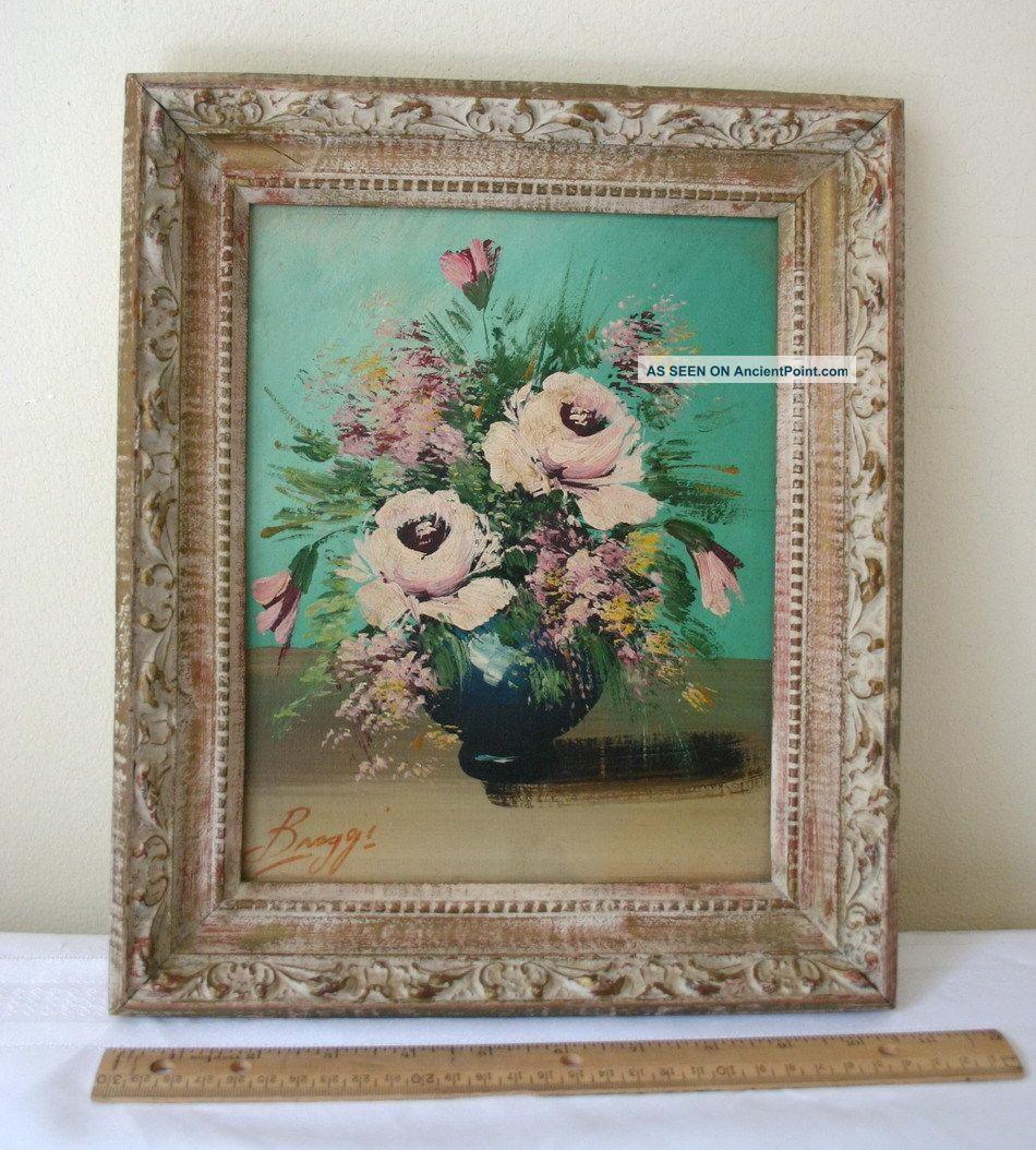 Broggi Artist Signed Antique Oil On Board Painting Flowers In Vase Ornate Frame Art Nouveau photo