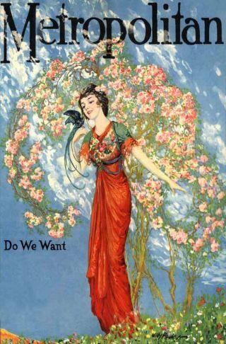 1925 Rose Garden Flower Bird Love Lady Nouveau Poster New Printing photo