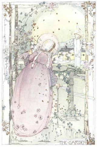 1914 Jessie King Art Nouveau Print Glasgow Girl Garden New Printing photo