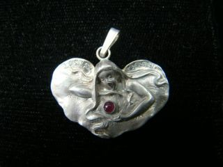 Sterling Silver Art Nouveau Style Pendand With Diamonds photo