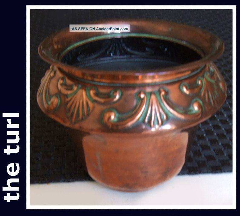 Victorian Art Nouveau Pretty Copper Cache Pot Art Nouveau photo