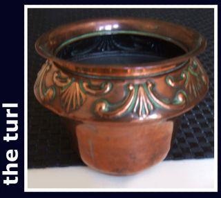 Victorian Art Nouveau Pretty Copper Cache Pot photo