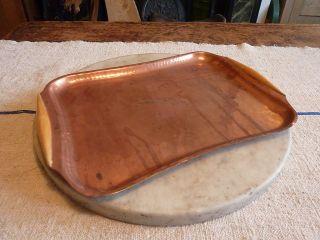 Antique Art Nouveau Copper Handbeaten Tray photo