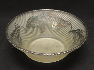 Antique Art Nouveau Frost Glass Bowl With Sterling Silver Overlay photo