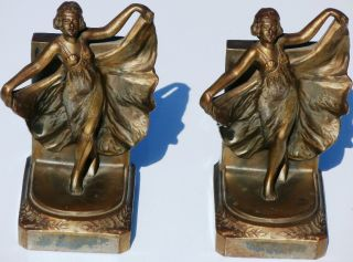 Loie Fuller Art Nouveau Style Art Deco Bookends Rare photo