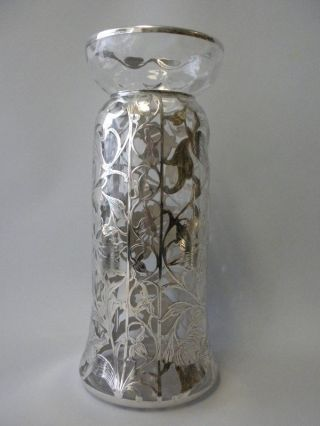 American Sterling Silver Overlay Vase Art Nouveau Liberty Jugendstil C 1905 photo
