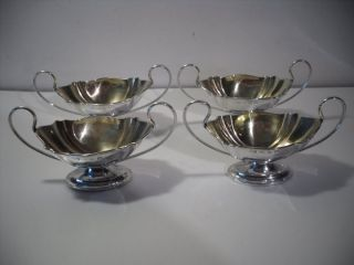 A Set Of Four Antique Art Nouveau Silver Salt Dishes : Birmingham 1896 photo