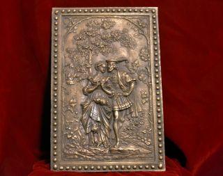 Antique Victorian Art Nouveau Renaissance Revival Bronze Plaque Mint photo