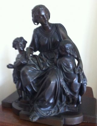 Antique Bronze Sculpture Anna Carrier Of Classical Woman & Children Signed photo