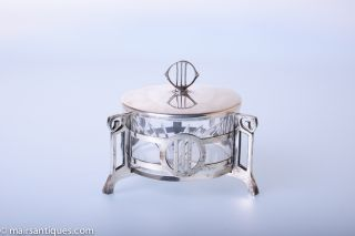 Art Nouveau Silver Plated Circular Box With Glass Liner By Wmf,  Circa 1910 photo
