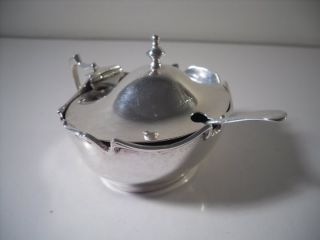 An Antique Art Nouveau Silver Mustard Pot & Blue Glass Liner : Birmingham 1905 photo