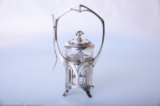 Art Nouveau Silver Plated Basket With Glass Liner Produced By Wmf,  Circa 1900 photo