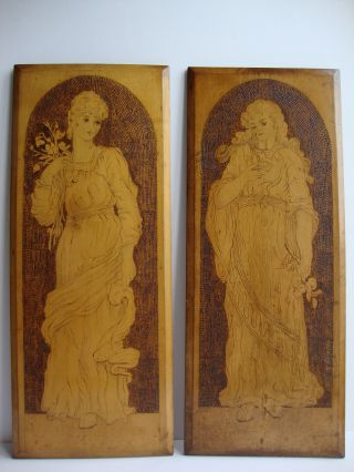 Delightful Pair Of Late 19thc Art Nouveau Pen & Pokerwork Panels / Wall Plaques photo