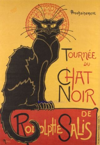 Lovely Theophile Steinlen Le Chat Noir Black Cat Wooden Quality Coaster photo