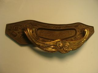 Art Nouveau Brass Door Handle With Mail Slot photo