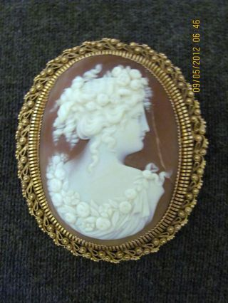 Large Victorian - Edwardian 14k Gold Shell Cameo Brooch Pendant Of