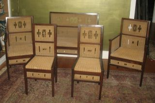 Rare Viennese Successionist Wicker 5 - Piece Parlor Set C.  1880 Art Nouveau photo