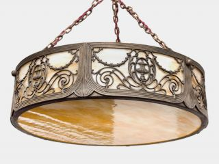 Art Nouveau American Cameo Glass And Spelter Ceiling Light photo