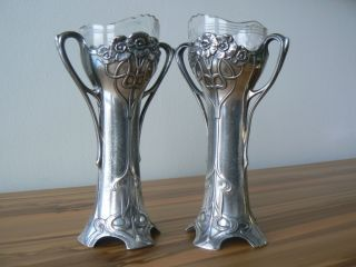 Rare Pair Wmf Electroplated Ox Art Nouveau Bud Vases With Glass - Antique German photo
