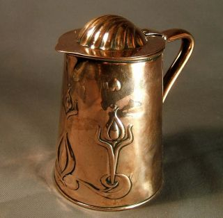 Copper Art Nouveau Lidded Jug By Joseph Shankley & Sons photo