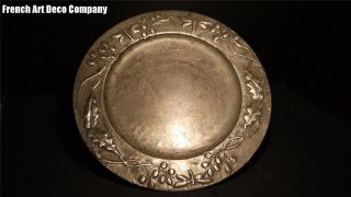 French Art Nouveau Pewter Wall Charger C1900 photo